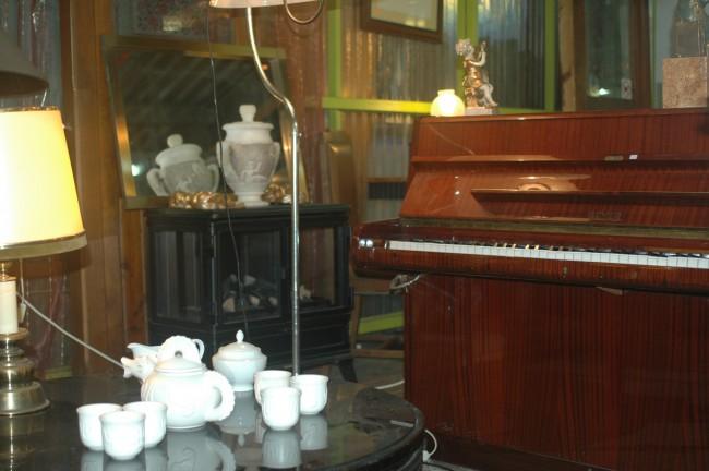 Piano y juego de café